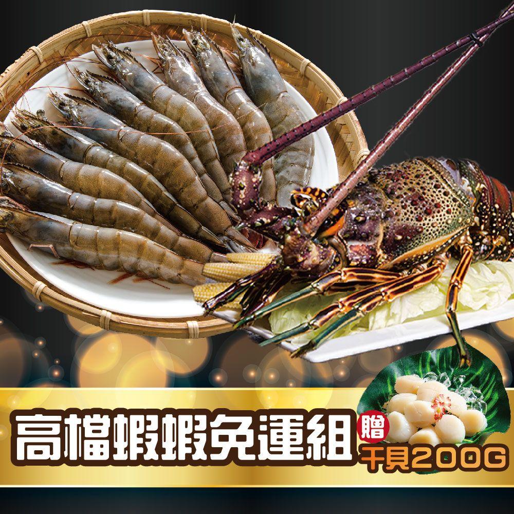 高檔蝦蝦免運組(白蝦規格 16/20 600g*1盒、野生花龍龍蝦350g*1隻 )