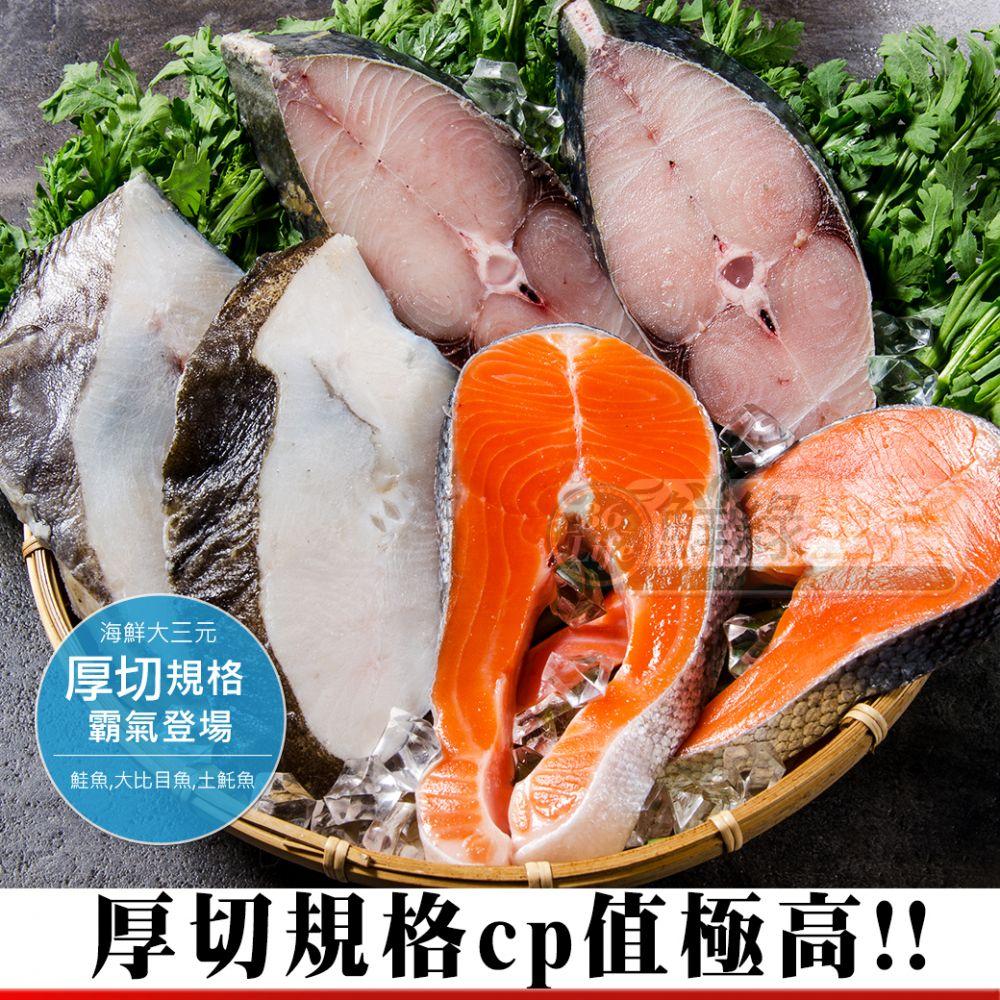 海鮮大三元(鮭魚X2大比目魚X2土魠魚X2)6片免運費